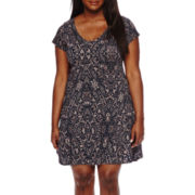 Decree® Short-Sleeve V-Neck Swing Skater Dress - Juniors Plus