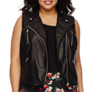 Decree® Pleather Moto Vest  - Plus