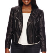 Decree® Pleather Moto Jacket - Plus