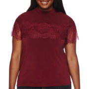 Decree® Short-Sleeve Mockneck Lace Top - Plus
