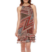 R&K Originals® Scarf-Print Triple-Tier Halter Shift Dress