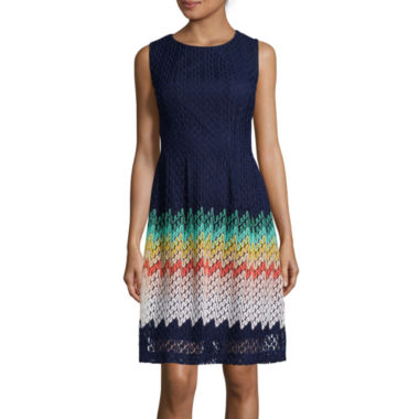 jcpenney.com | R&K Originals® Sleeveless Knit Lace Fit-and-Flare Dress
