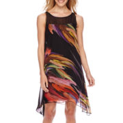 Robbie Bee® Sleeveless Multi-Print Shift Dress
