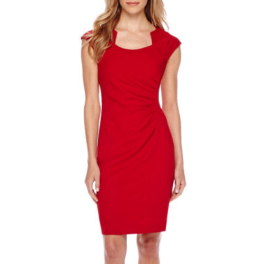 jcpenney.com | Chelsea Rose Cap-Sleeve Side-Ruched Sheath Dress