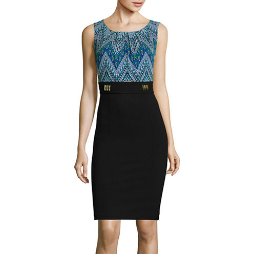 Alyx® Sleeveless Medallion-Print Layered Sheath Dress