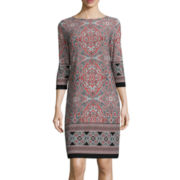 London Style Collection 3/4-Sleeve Paisley-Print Shift Dress