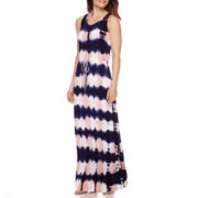 St. John's Bay® Tie-Dye Drawstring Waist Tank Maxi Dress