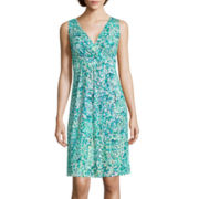 St. John's Bay® Sleeveless Floral-Print Surplice Pleat Flip-Flop Dress