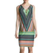 MSK Zip-Up Tribal Shift Dress