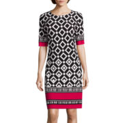 R&K Originals® 3/4-Sleeve Diamond Print with Border Shift Dress