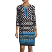Studio 1® 3/4-Sleeve Split-Neck Geo-Print Shift Dress