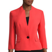 Evan-Picone 3/4-Sleeve Stand-Collar One-Button Crepe Jacket