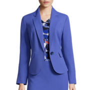 Evan-Picone Long-Sleeve One Button Notch Collar Crepe Jacket