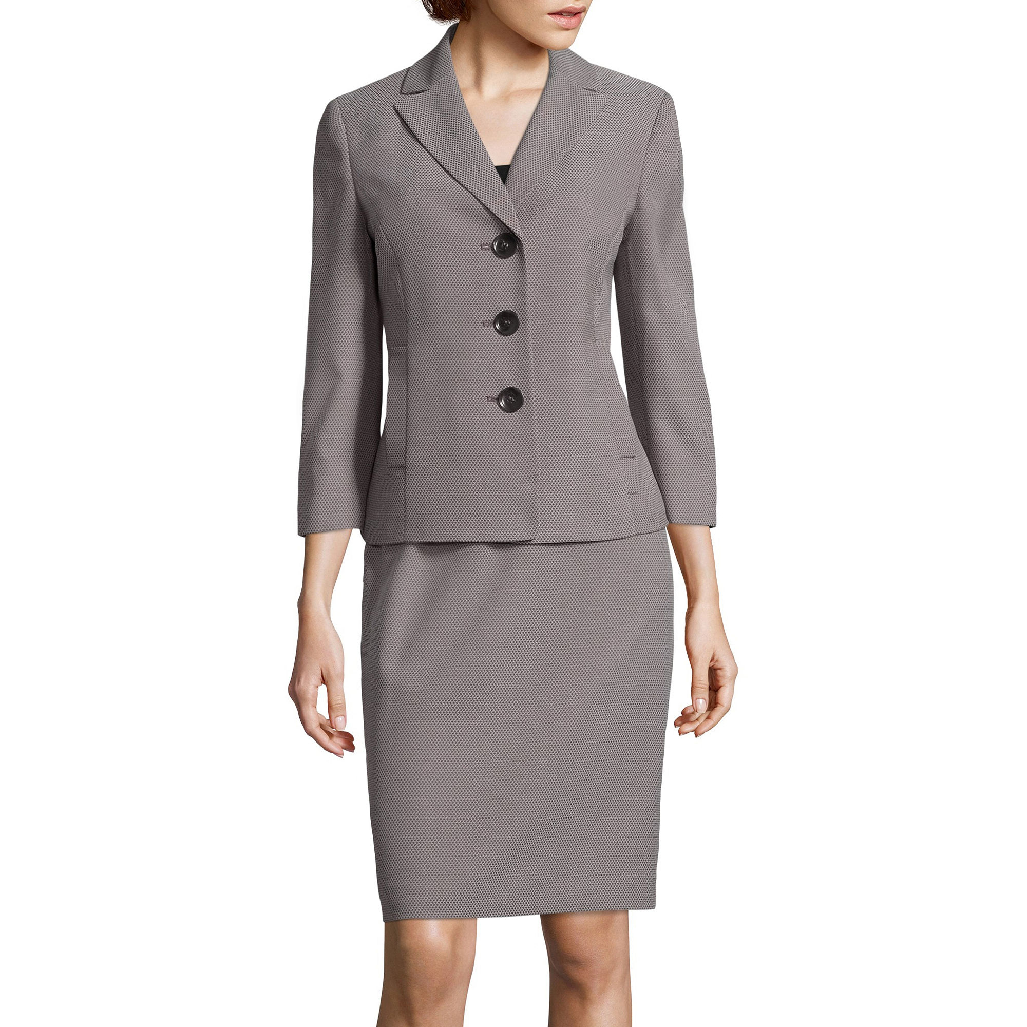 Le Suit Novelty Notch Lapel Skirt Suit plus size,  plus size fashion plus size appare