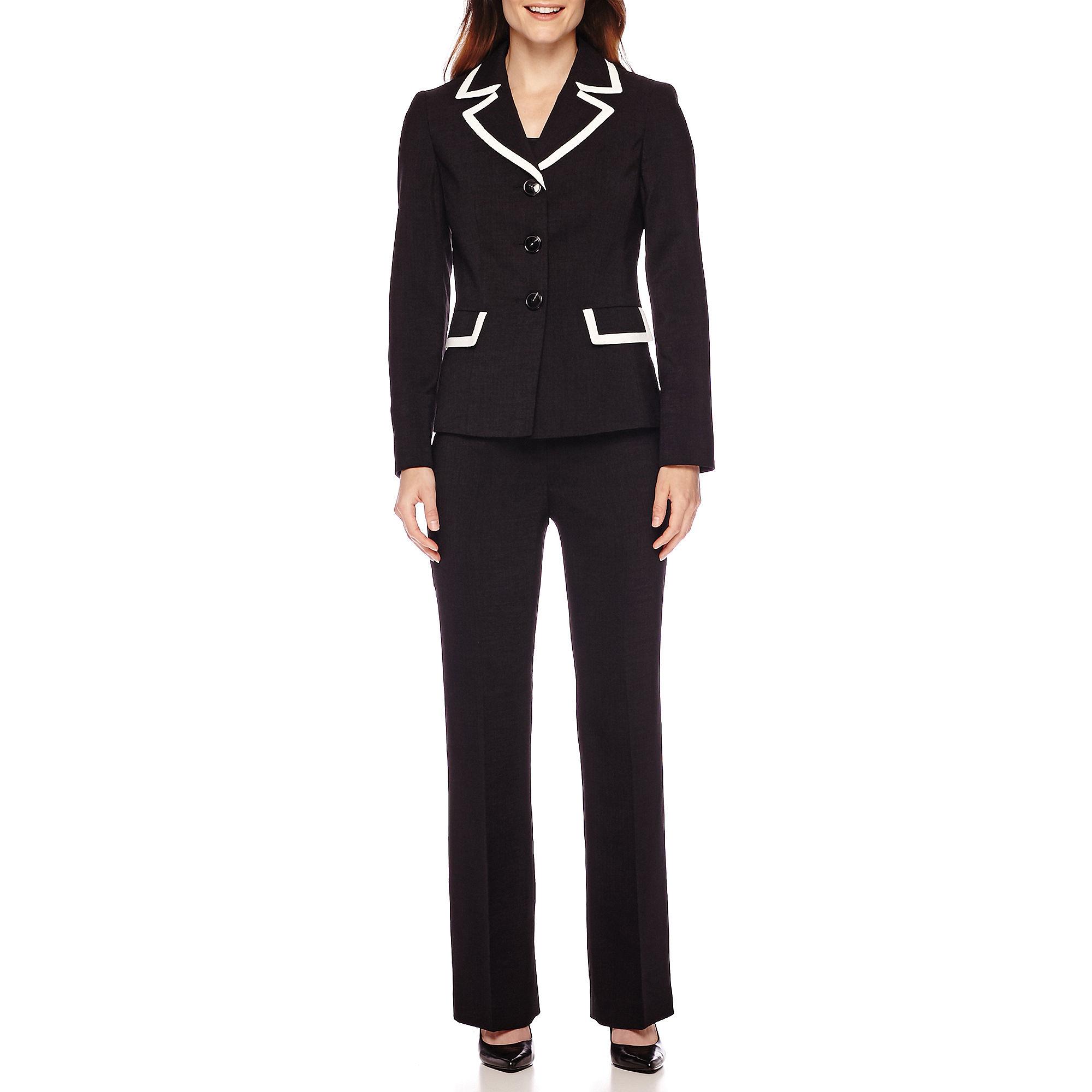 Le Suit Textured Basket Weave Notch Lapel Pant Suit plus size,  plus size fashion plus size appare