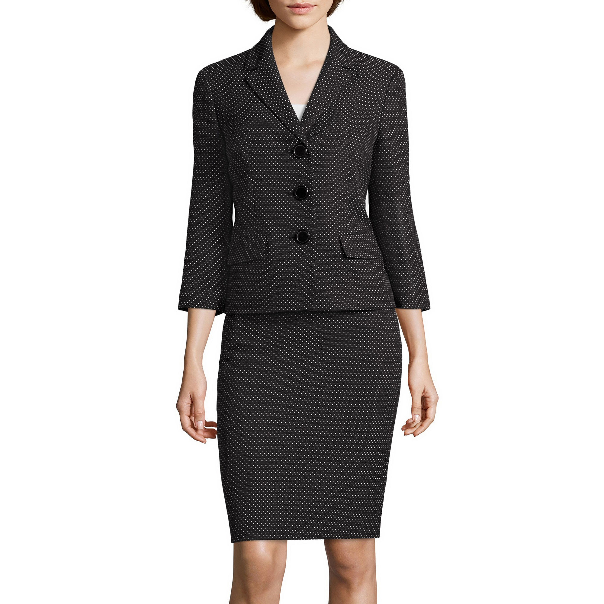 Le Suit Pin Dot Notch Lapel Skirt Suit plus size,  plus size fashion plus size appare