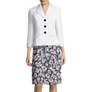 Le Suit® Plain Weave Jacket with Floral Soft Skirt