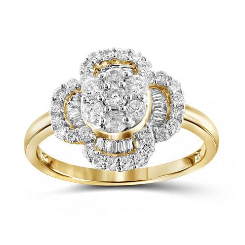 1 CT. T.W. Diamond 10K Yellow Gold Flower Ring