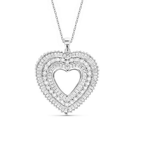 1 CT.T.W. Diamond 10K White Gold Heart Pendant Necklace
