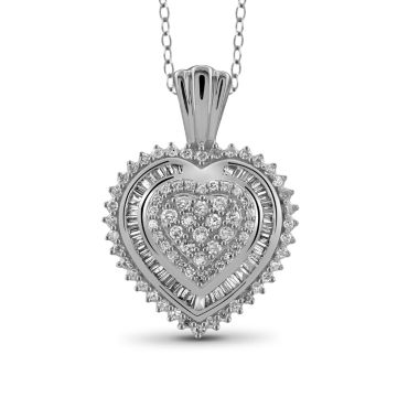 jcpenney.com | 1/2 CT. T.W. Diamond 10K White Gold Heart Pendant Necklace