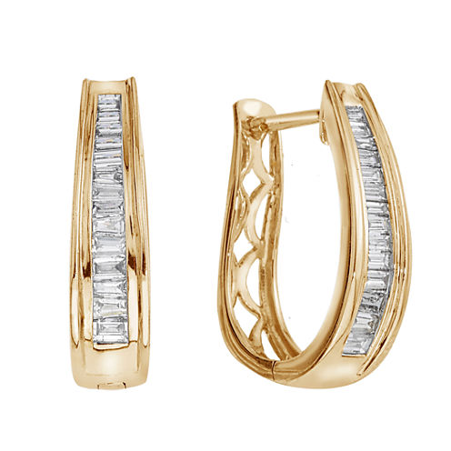 1/2 CT. T.W Certified Diamonds 14K Yellow Gold Hoop Earrings