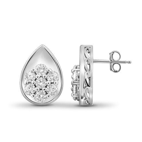 1/2 CT. T.W. Diamond 10K White Gold Cluster Earrings