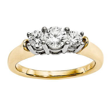 jcpenney.com | 7/8 CT. T.W. Diamond 14K Two-Tone Gold 3-Stone Engagement Ring