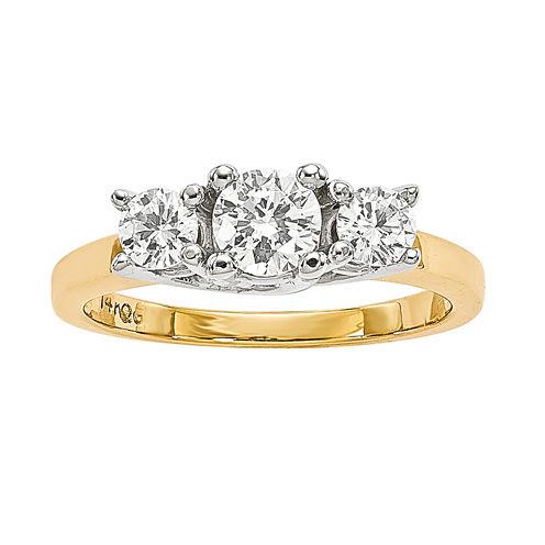 7/8 CT. T.W. Diamond 14K Two-Tone Gold 3-Stone Ring