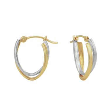 jcpenney.com | Majestique™ 18K Two-Tone Gold 12mm Intertwined Hoop Earrings