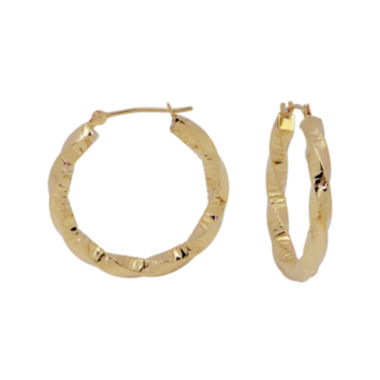 jcpenney.com | 14K Yellow Gold Rope Textured Hoop Earrings