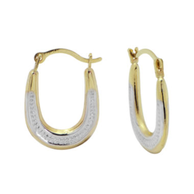 jcpenney.com | Small Oval Two-Tone Hoop Earrings 10K Gold