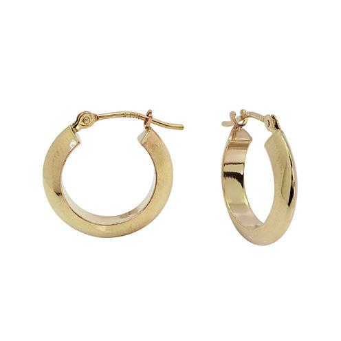 14K Yellow Gold Polished 15mm Knife-Edge Hoop Earrings