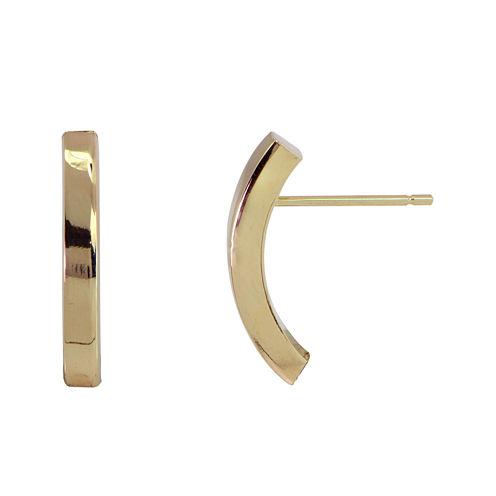 14K Yellow Gold Polished 19mm Half Hoop Earrings