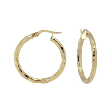 jcpenney.com | 14K Yellow Gold 25mm Diamond-Cut Hoop Earrings