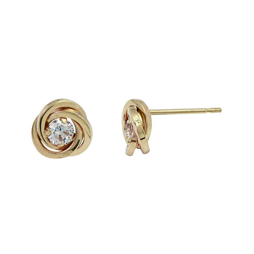 Cubic Zirconia Love Knot Earrings 14K Gold