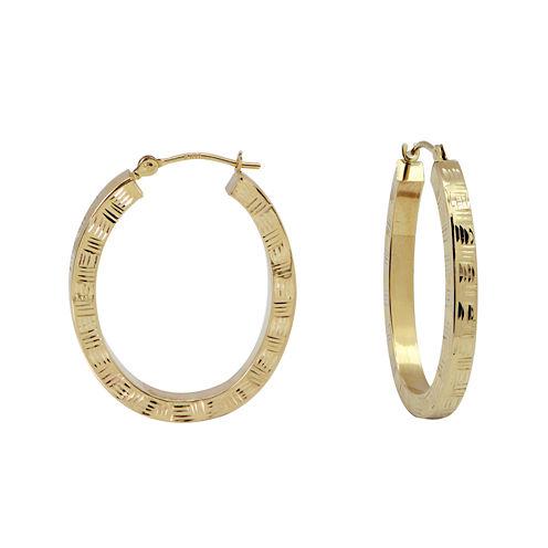 14K Yellow Gold Diamond-Cut Oval Hoop Earrings