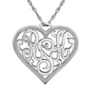 Personalized Monogram Script Heart Pendant Necklace
