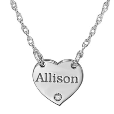 jcpenney.com | Personalized Diamond Accent Heart Name Pendant Necklace