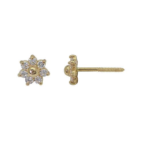 Girls 14K Yellow Gold Cubic Zirconia Flower Stud Earrings