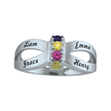 jcpenney.com | Personalized Engraved Simulated Birthstone Split Shank Ring