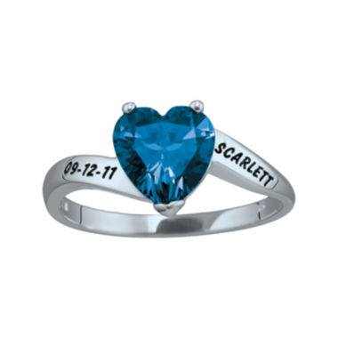 jcpenney.com | Personalized Engraved Simulated Birthstone Heart Ring