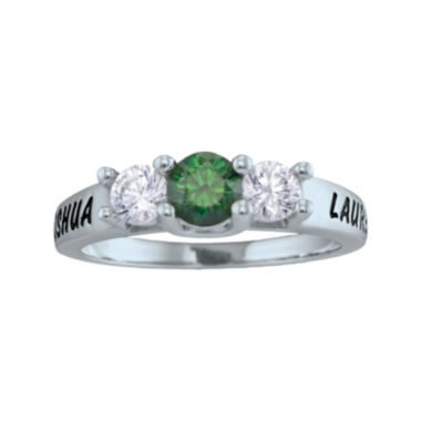 jcpenney.com | Personalized Simulated Birthstone and Cubic Zirconia 3-Stone Engraved Ring