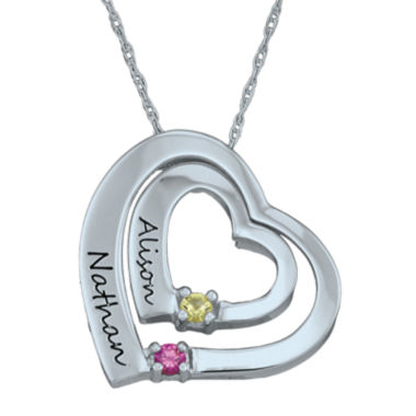 jcpenney.com | Personalized Simulated Birthstone Engraved Double Heart Pendant Necklace