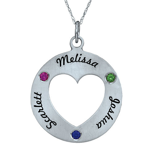 Personalized Simulated Birthstone Engraved Open Heart Pendant Necklace