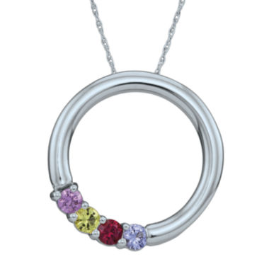 jcpenney.com | Personalized Simulated Birthstone Circle Pendant Necklace