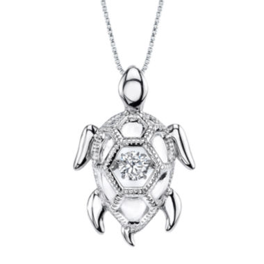 jcpenney.com | Dancing Cubic Zirconia Sterling Silver Turtle Pendant Necklace