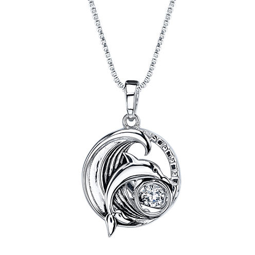 Dancing Cubic Zirconia Sterling Silver Dolphin Pendant Necklace