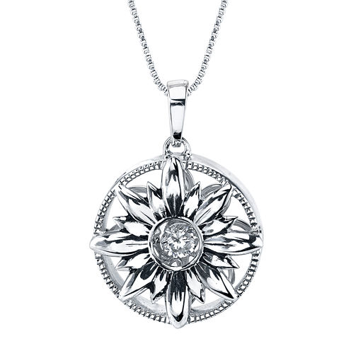 Inspired Moments™ Dancing Cubic Zirconia Sterling Silver Sunflower Pendant