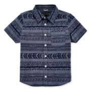 Short-Sleeve Print Chambray Button-Down Shirt - Preschool Boys 4-7
