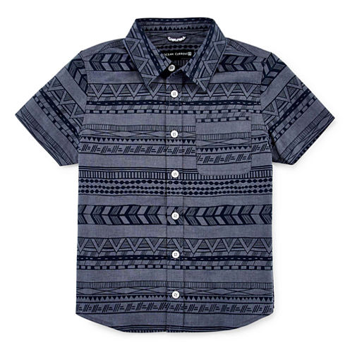 Short-Sleeve Print Chambray Button-Down Shirt - Preschool Boys 4-7